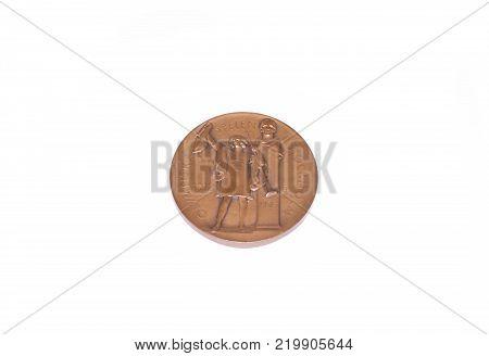 Stockholm 1912 Summer Olympic Games Bronze medal reverse. Kouvola Finland 26.03.2017
