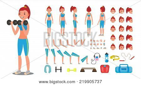 Fitness Girl Vector. Animated Sport Female Character Creation Set. Full Length, Front, Side, Back View, Accessories, Poses, Face Emotions, Gestures. Isolated Cartoon Illustration