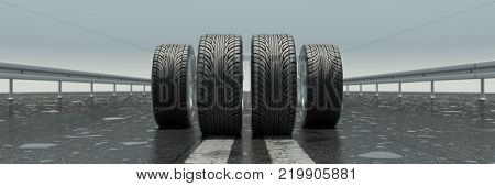 Four tires standing on a wet road (3D Rendering)