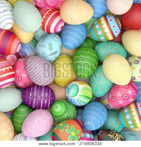 Heap of many colorful eggs for easter background from above (3D Rendering)