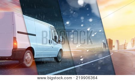 Delivery van on road with different weather conditions as sun, snow and rain (3D Rendering)