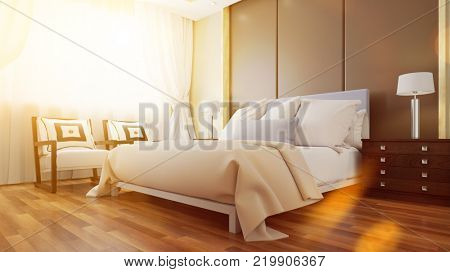 Sunny hotel room suite with double bed in bedroom (3D Rendering)