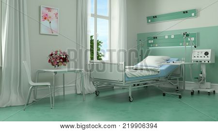 Medical bed in hospital room or nursing home with medical equipment (3D Rendering)