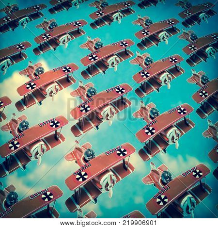 world war one red  german bi plains  flying  in formation