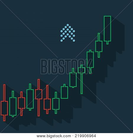 Market currency climbs trend with bars and long shadow on dark background. Market graph for option, forex, exchange. Vector illustration