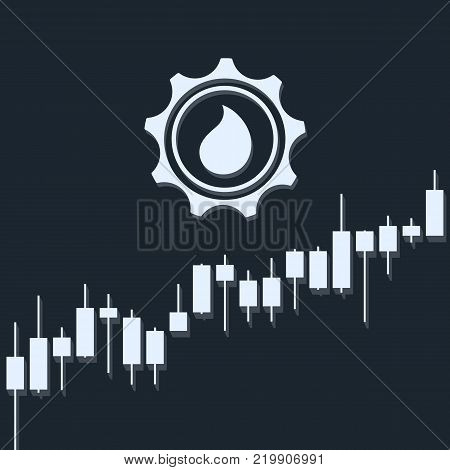 Oil currency up trend with stock market bars and long shadows on dark background. Market graph for option, forex, exchange