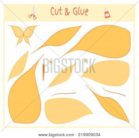 Education paper game for the development of preschool children. Cut parts of the image and glue on the paper. Vector illustration. Use scissors and glue to create the applique. butterfly.