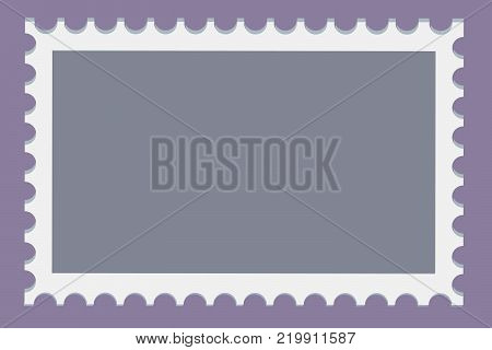 Blank postage stamps template set on dark background. Rectangle postage stamps for envelopes post cards. Vector illustration.