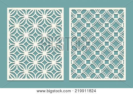 Set of die cut card. Laser cutting panels. Cutout silhouette with geometric pattern. Ornament suitable for laser cutting paper, wood, metal, stencil manufacturing. Vector illustration