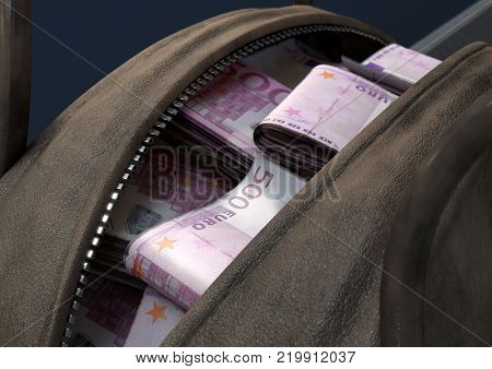 Illicit Cash In A Brown Duffel Bag