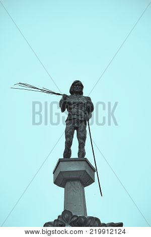 Statue of the punisher on the top of the the stone pillory Pranger on the Market Square in Wroclaw Poland