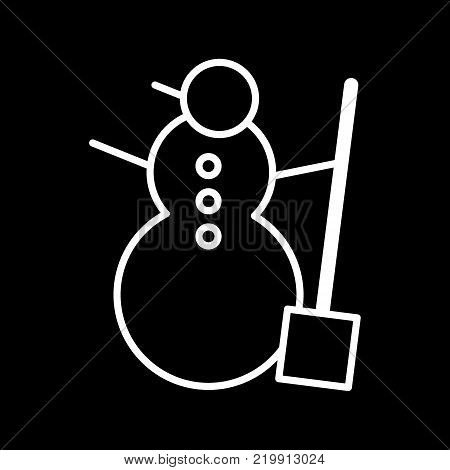Snowman vector icon isolated on black. Snowman illustration flat design. Outline icon