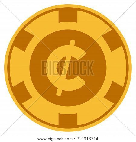 Cent golden casino chip pictograph. Vector style is a gold yellow flat gamble token item.
