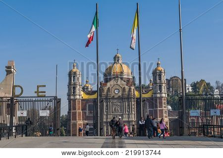 VILLA OF GUADALUPE MEXICO CITY DECEMBER 04 2017 - The Villa of Guadalupe is the most visited Marian sanctuary in the world only after the Basilica of Saint Pedro. It is estimated that about twenty million pilgrims visit it annually.