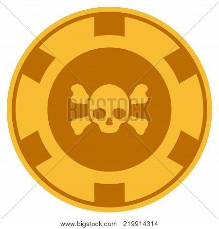 Skull Crossbones golden casino chip icon. Vector style is a gold yellow flat gamble token item.