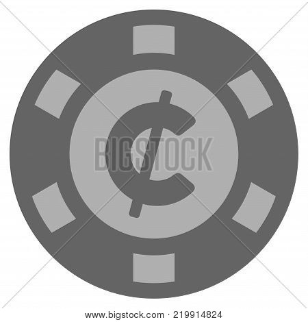 Cent gray casino chip pictograph. Vector style is a grey silver flat gambling token symbol.