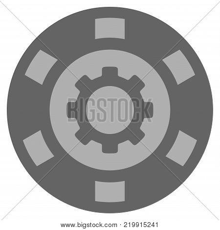 Gear silver casino chip icon. Vector style is a grey silver flat gambling token symbol.