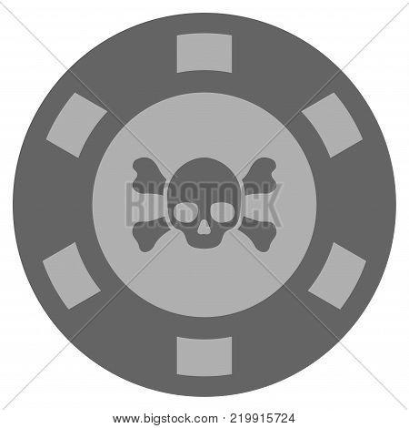 Skull Crossbones grey casino chip icon. Vector style is a grey silver flat gambling token item.
