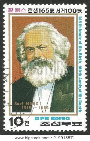 DPR Korea - circa 1983: Stamp printed by Korea Color edition on Eminent personalities Shows portrait of Karl Marx circa 1983