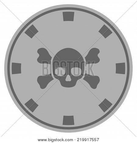 Skull Crossbones gray casino chip icon. Vector style is a grey silver flat gamble token symbol.