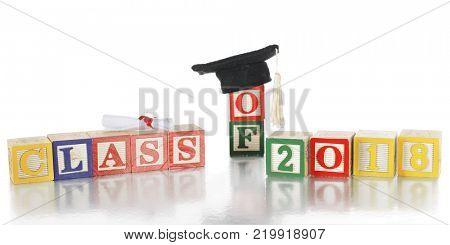 Alphabet blocks arranged to say