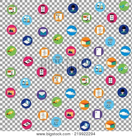 Digital marketing vector icons on transparent background. Social media icons, rocket ship, bird, mail, smart phone, vr. Vector illustration. -stock vector