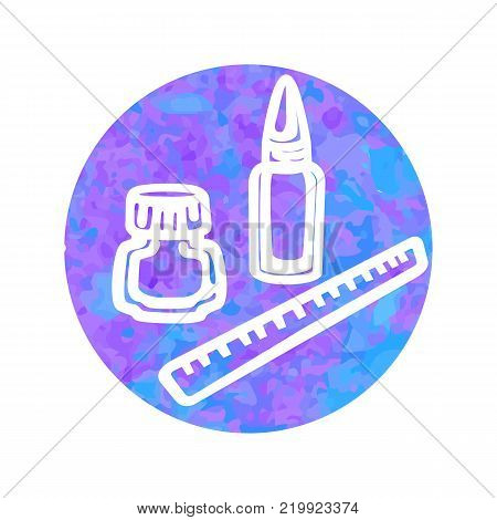 Vector hand drawn icon of clerical on round watercolor background