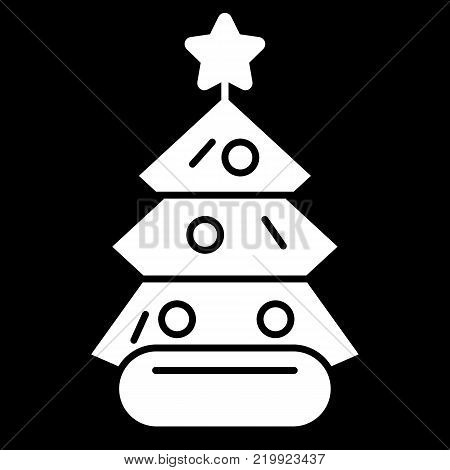 Dressed Christmass tree linear icon. White Christmass tree on black background. Vector eps10