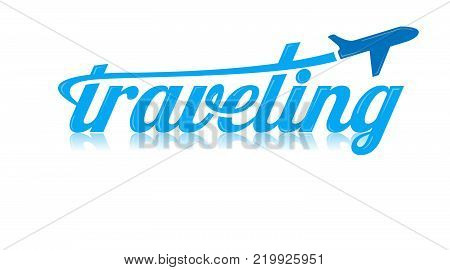 Traveling logo vector. Air travel company. Holiday tour travel on air plane