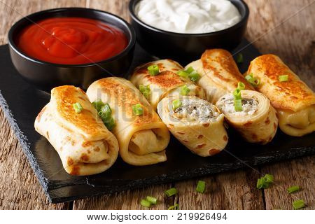 Crepes Rolls With Chicken, Cheese And Mushrooms Close-up And Salad Of Fresh Vegetables. Horizontal T