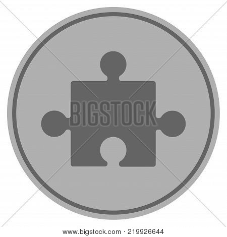 Component silver coin icon. Vector style is a silver grey flat coin symbol.