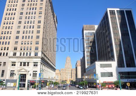 BUFFALO, NY, USA - JULY 22, 2011: Buffalo City Court Street at Main Street in downtown Buffalo, New York, USA.