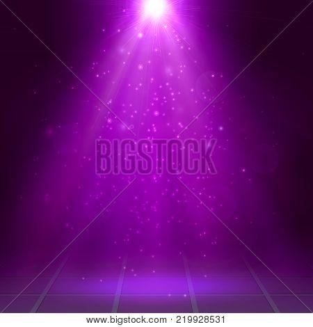 Magenta spotlights, ray, fog, smoke, Scene, Disco, Light Effects, Vector illustration