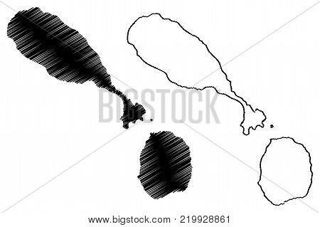 Saint Kitts and Nevis map vector illustration, scribble sketch Federation of Saint Christopher and Nevis