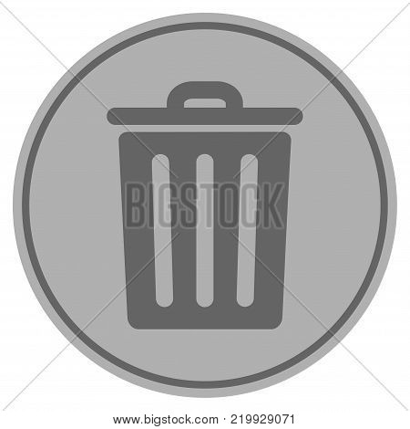 Dustbin silver coin icon. Vector style is a silver grey flat coin symbol.