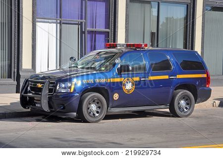 BUFFALO, NY, USA - JULY 22, 2011: New York State Trooper Chevy Tahoe Police Car in downtown Buffalo, New York, USA.