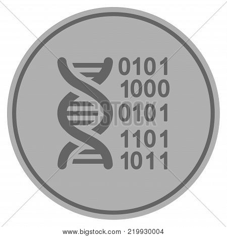 Genome silver coin icon. Vector style is a silver grey flat coin symbol.