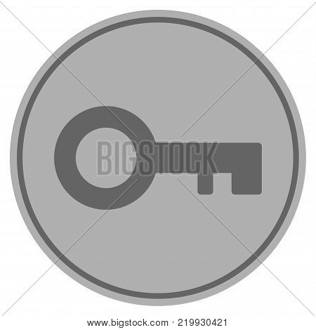 Key silver coin icon. Vector style is a silver gray flat coin symbol.