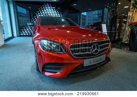 BERLIN - DECEMBER 21, 2017: Showroom. Executive car Mercedes-Benz E-Class E220d (W213). Since 2017.