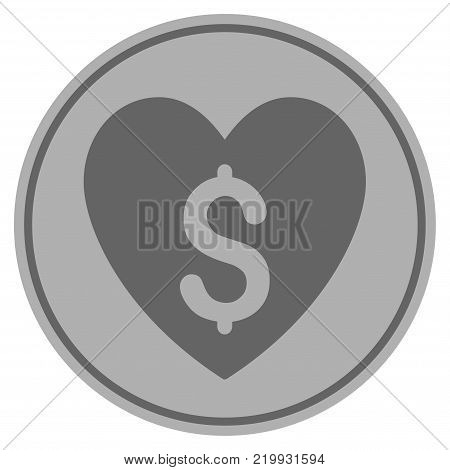 Paid Love silver coin icon. Vector style is a silver gray flat coin symbol.