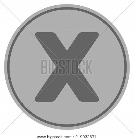 Roman Ten silver coin icon. Vector style is a silver gray flat coin symbol.