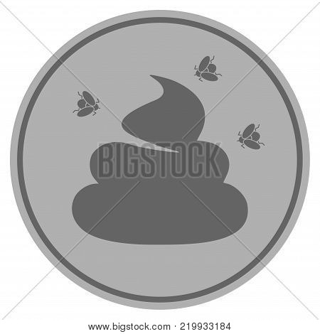 Smelly Shit silver coin icon. Vector style is a silver grey flat coin symbol.