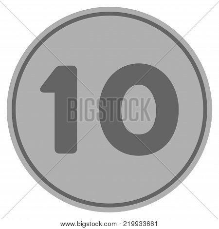 Ten silver coin icon. Vector style is a silver grey flat coin symbol.