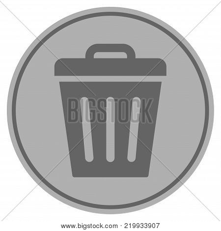 Trash Can silver coin icon. Vector style is a silver grey flat coin symbol.