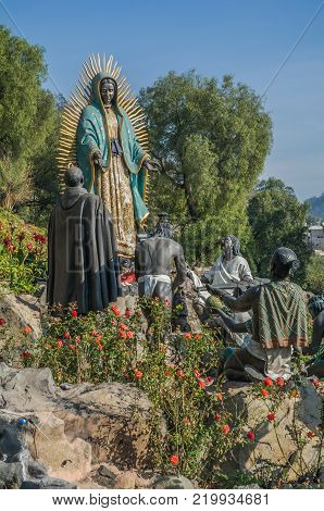 VILLA OF GUADALUPE, MEXICO CITY, DECEMBER 04, 2017 - Monumental sculptural set entitled The Offering, designed by the Architect Aurelio G D Mendoza and built with funds provided by Mr. Antonio del Valle Talavera. It was inaugurated and blessed on Septembe