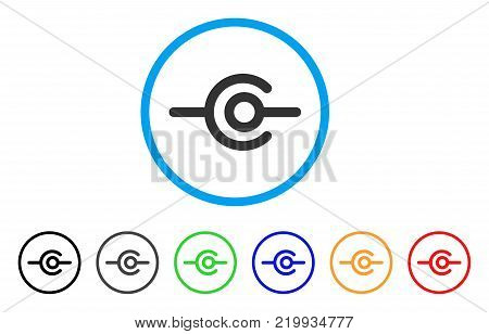 Wire Connection rounded icon. Style is a flat gray symbol inside light blue circle with bonus colored variants. Wire Connection vector designed for web and software interfaces.