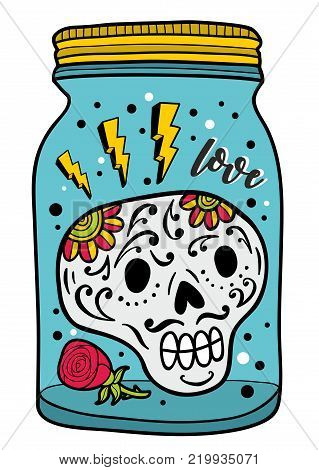 Colorful glass jar with skull inside. Romantic illustration isolated on the white background.