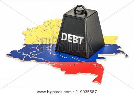Colombian national debt or budget deficit, financial crisis concept, 3D rendering