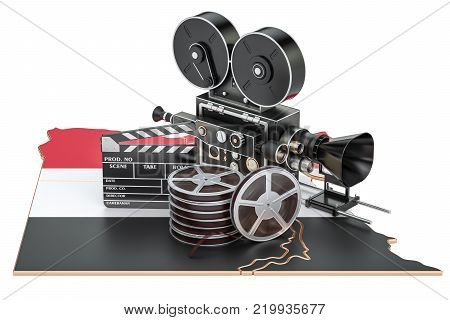 Egyptian cinematography, film industry concept. 3D rendering isolated on white background