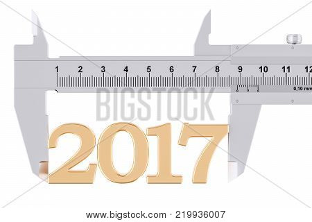 Vernier caliper with 2017, analysis of year concept. 3D rendering
